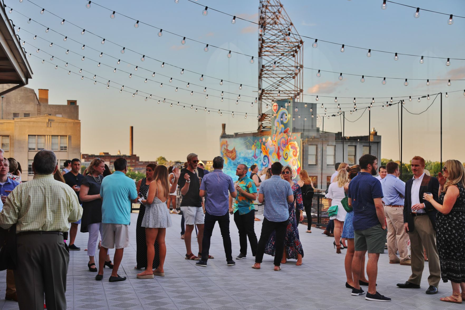 Guests on a rooftop patio of the Centene Center for the Arts