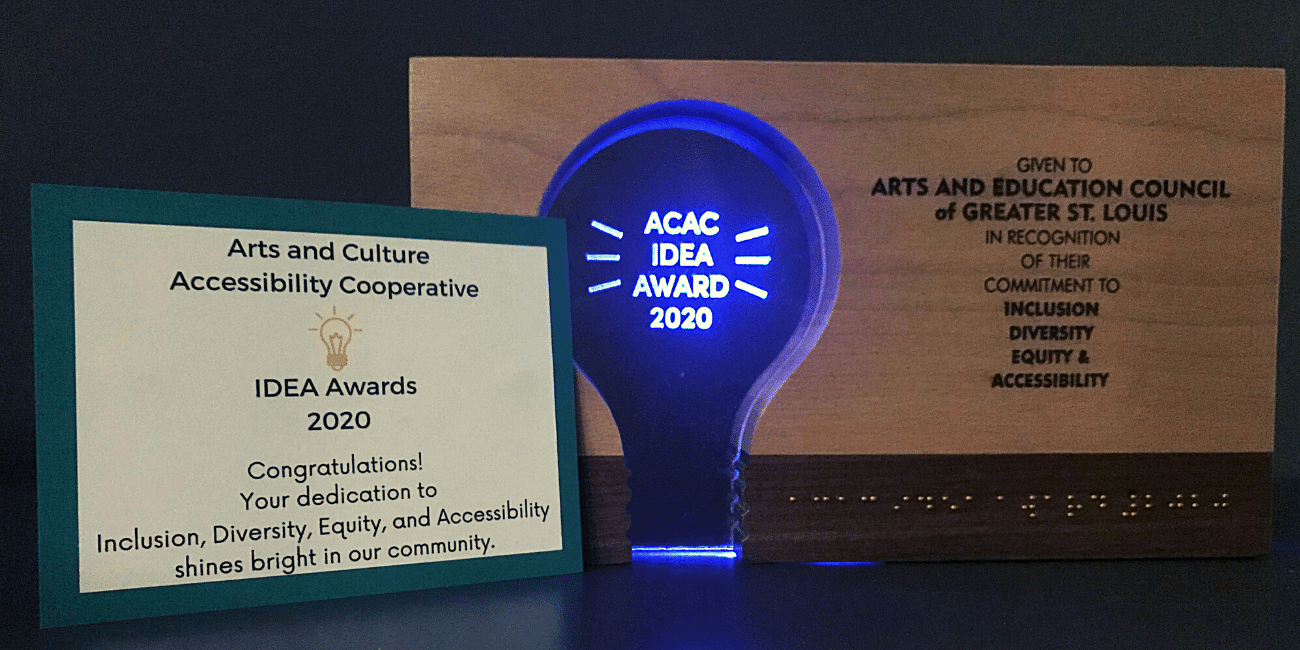 """Bespoke award that features the text """"ACAC IDEA Awards 2020"""" in braille"""