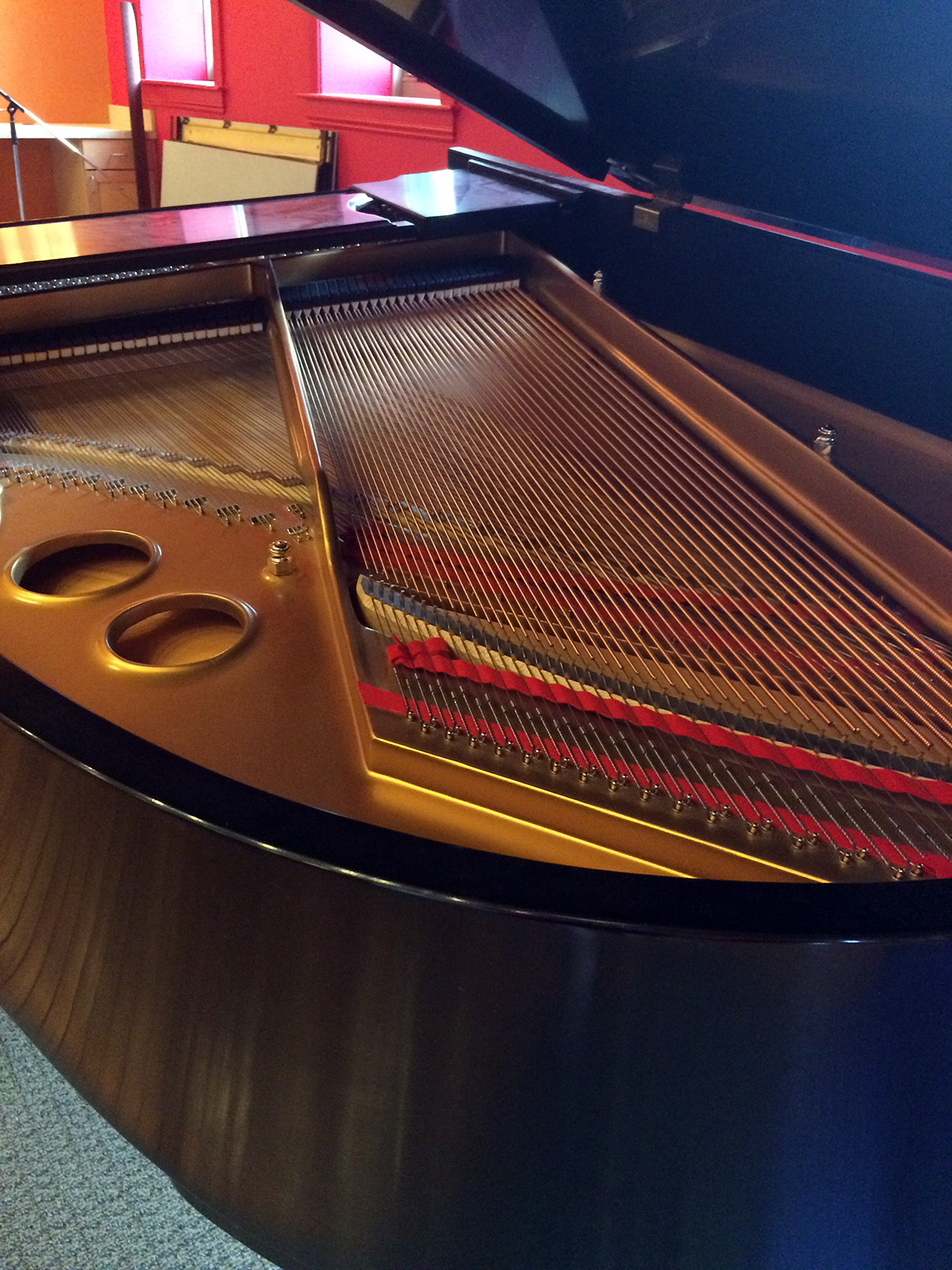 Inside look at Steinway O small grand piano
